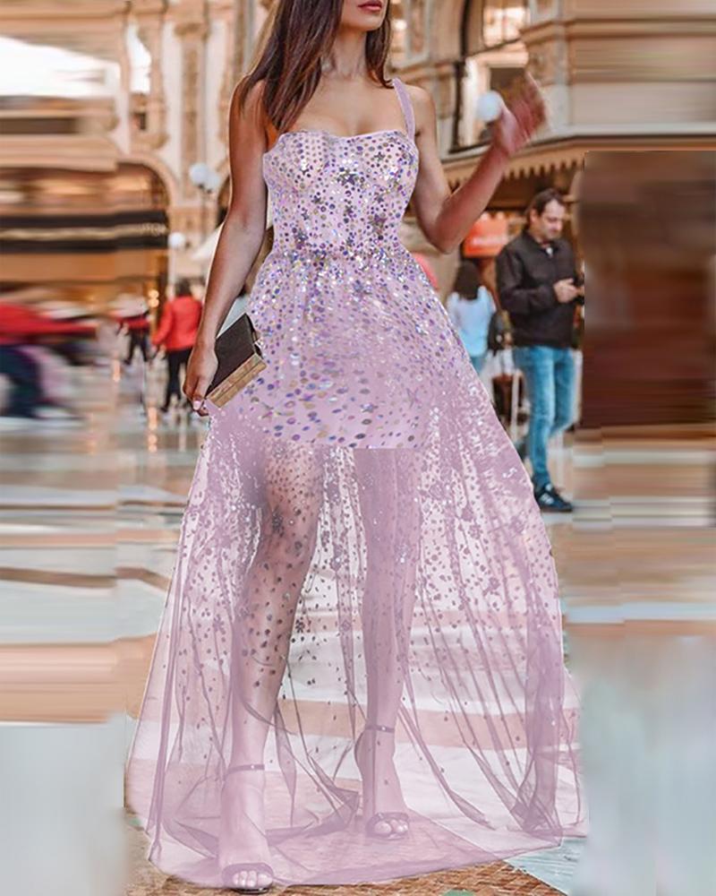 boutiquefeel / Vestido de lentejuelas con lentejuelas transparentes y correa de espagueti con purpurina