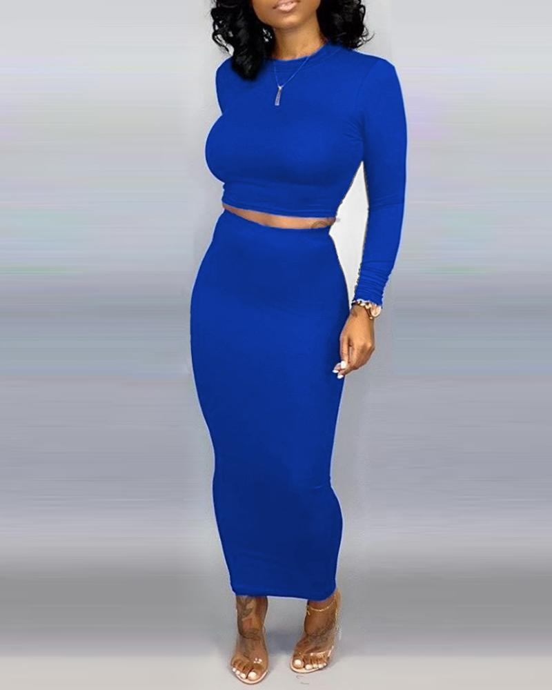 Solid Round Neck Crop Top & Skirt Sets фото