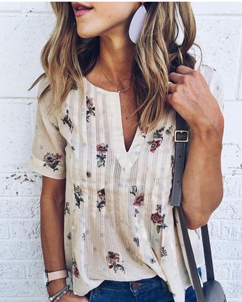 ivrose / Camiseta informal con cuello en V y estampado floral