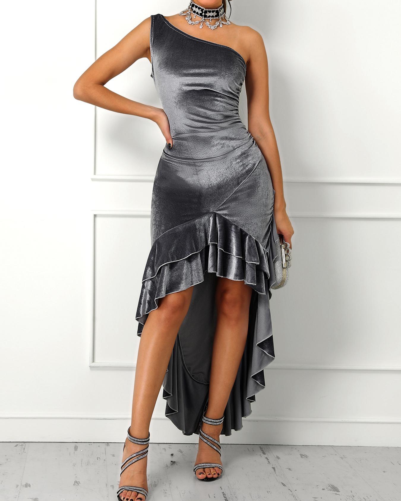 joyshoetique / Velvet One Shoulder Layered Ruffles Irregular Party Dress