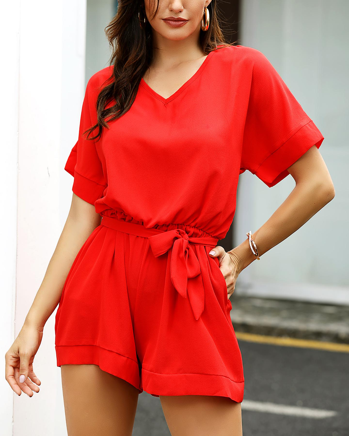 chicme / V-Neck Short Sleeve Casual Romper