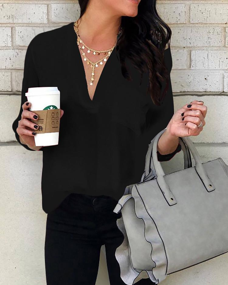 Solid Deep V-Neck Pocket Design Blouse