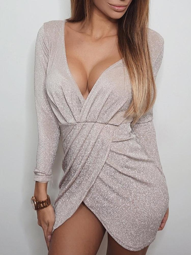chicme / Plunge Shiny Scrunched Overlap Bodycon Dress