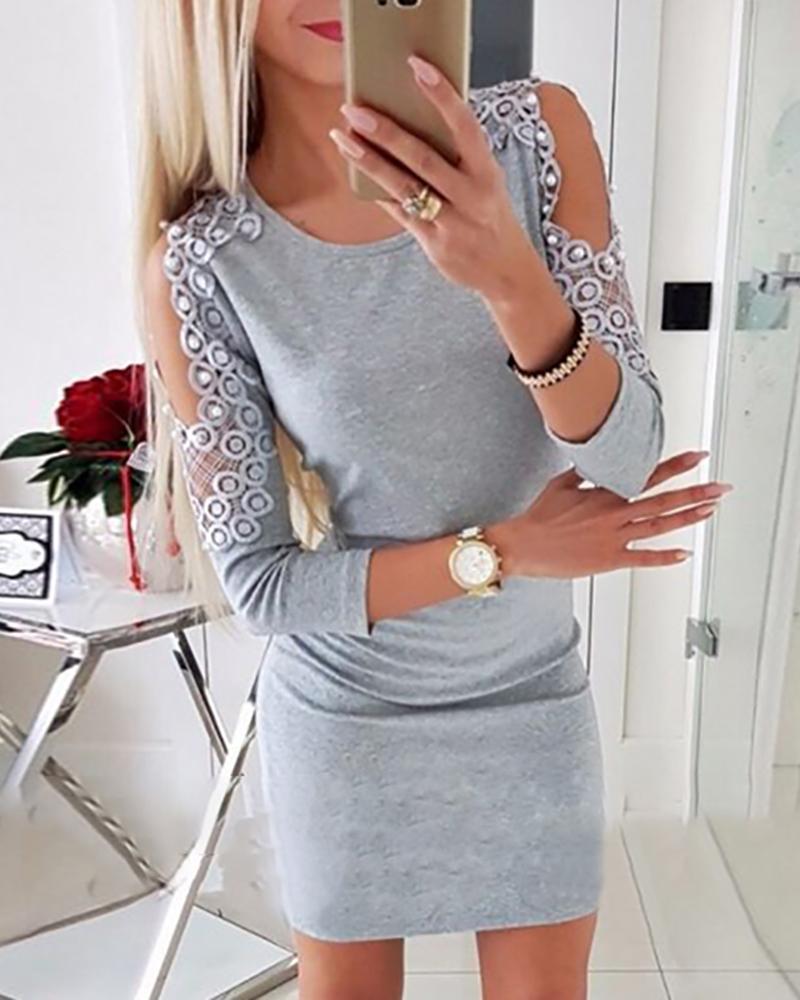 Beaded Cold Shoulder Lace Mini Dress фото