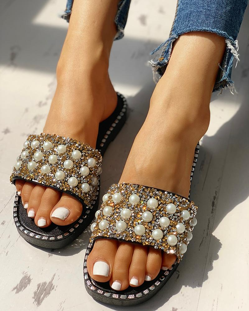 Bead Studded Detail Flat Sandals фото
