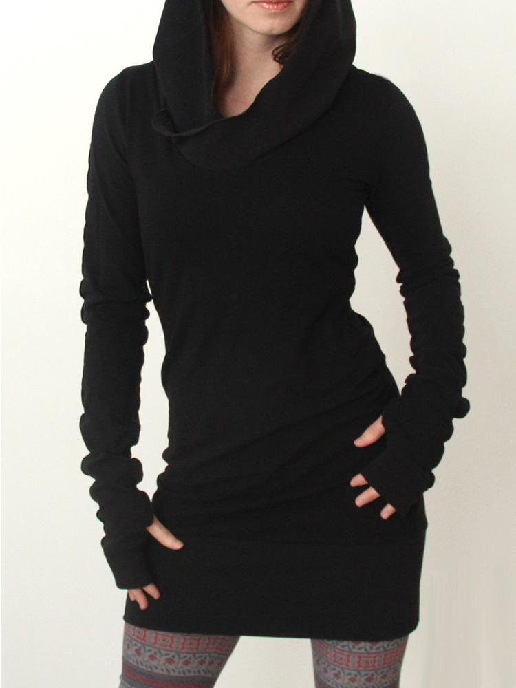 Black Hoodie Sweatshirts Dress