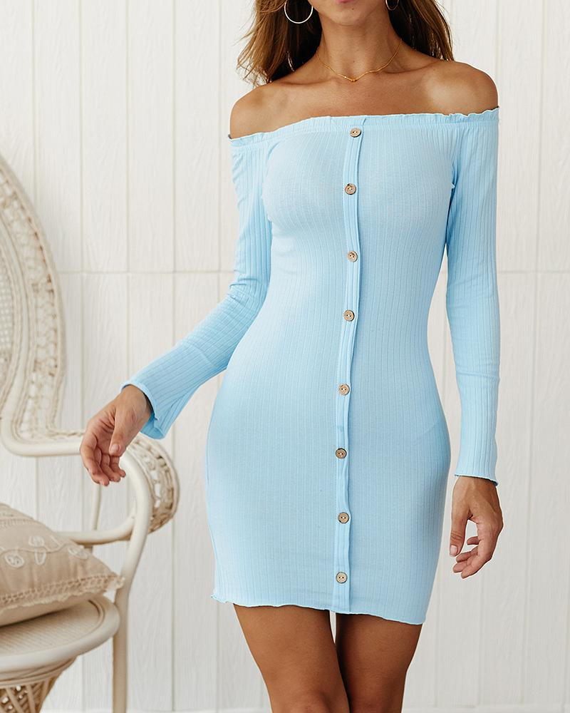 Ribbed Off Shoulder Buttoned Long Sleeve Dress фото