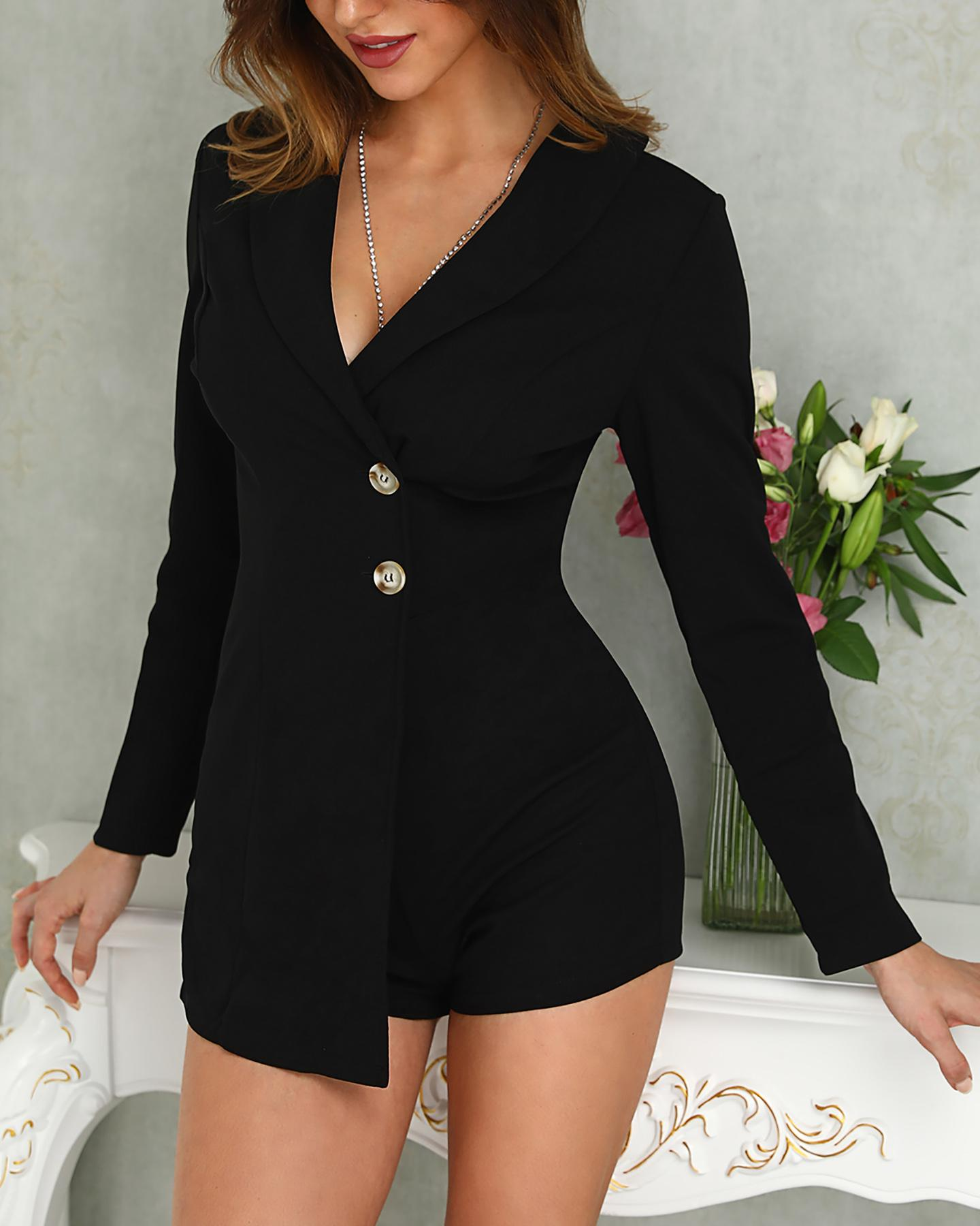 Solid Buttoned Design Blazer Romper, Black