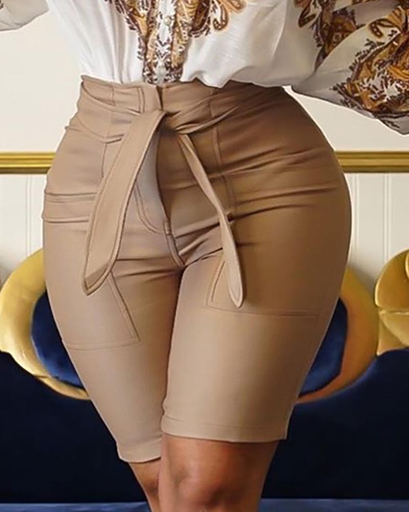 Solid High Waist Coated PU Shorts фото