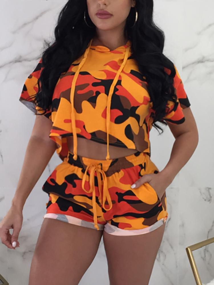 Camo Print Hooded Cropped Shorts Tracksuits
