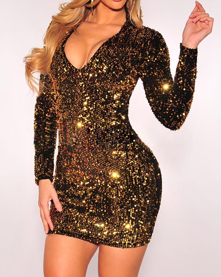Long Sleeve Deep V Sequin Dress фото