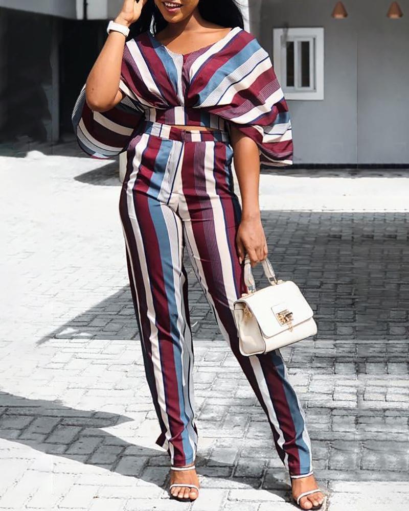 Striped Batwing Sleeve Top & Pants Set фото