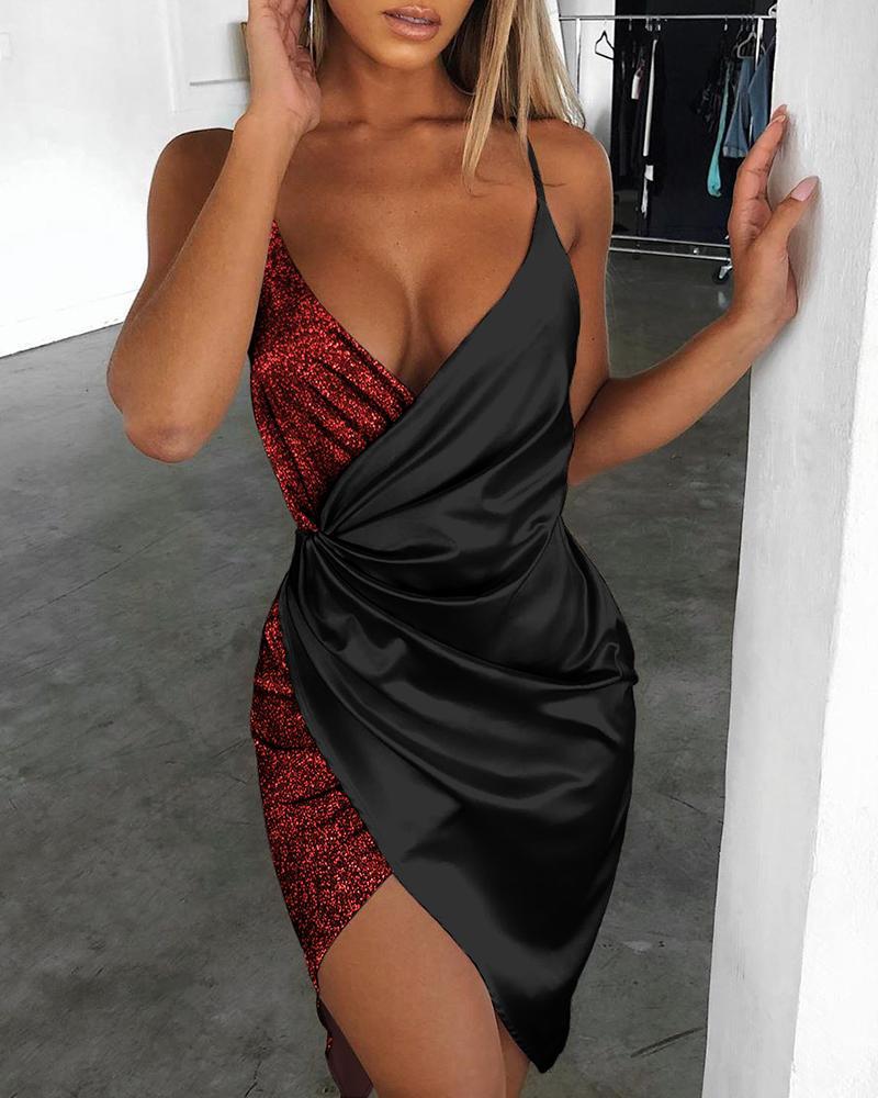 chicme / Vestido cruzado con lentejuelas y correa de espagueti