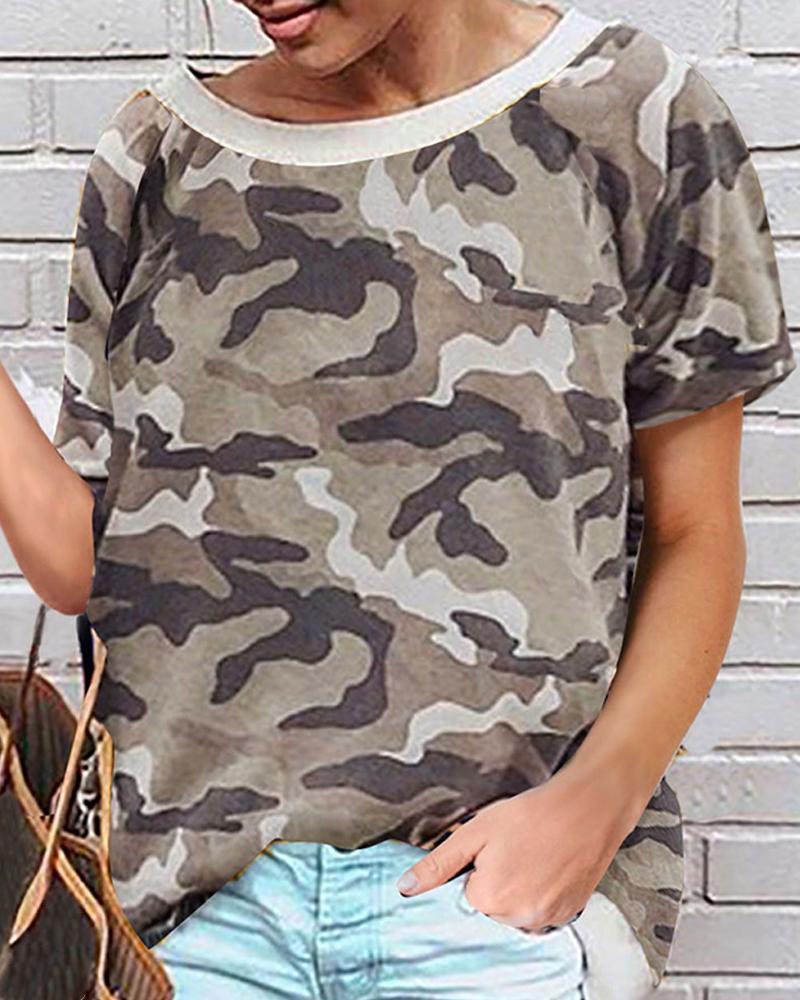 Round-neck Print Short Sleeve T-shirt фото