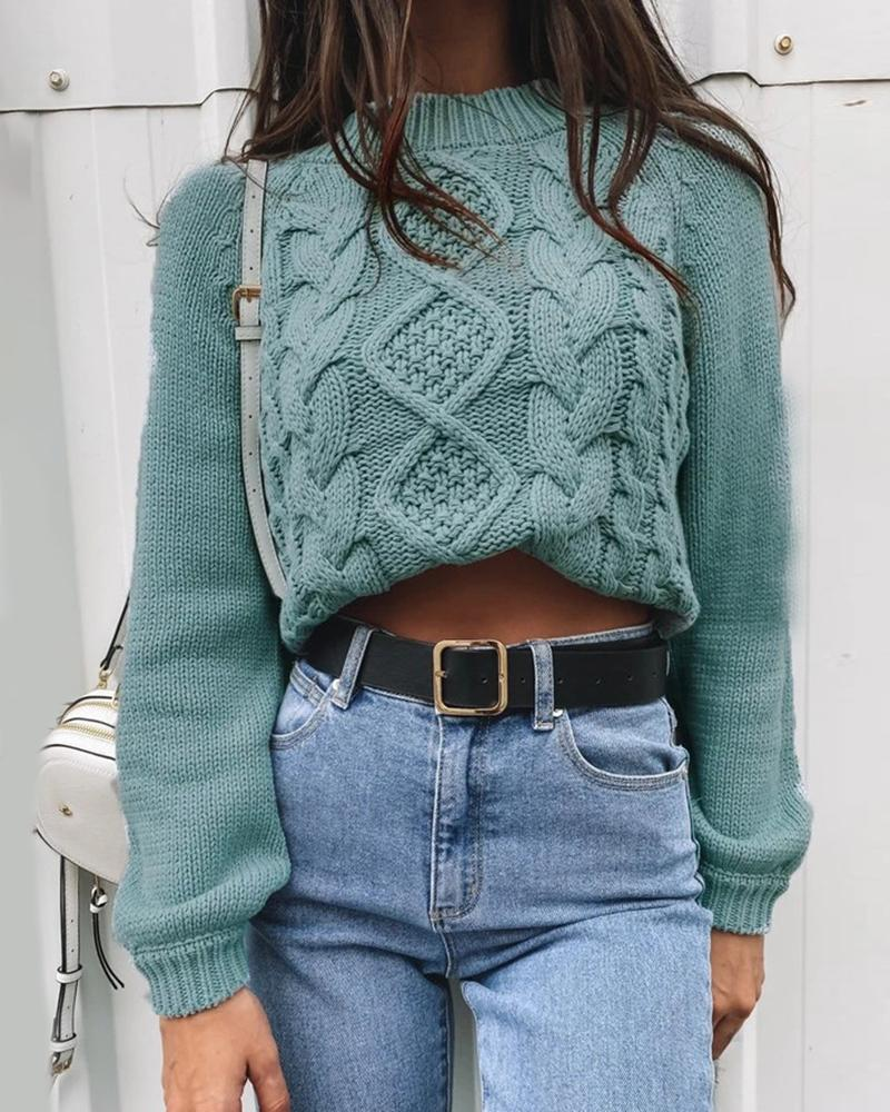 Solid Braided Long Sleeve Casual Sweater фото