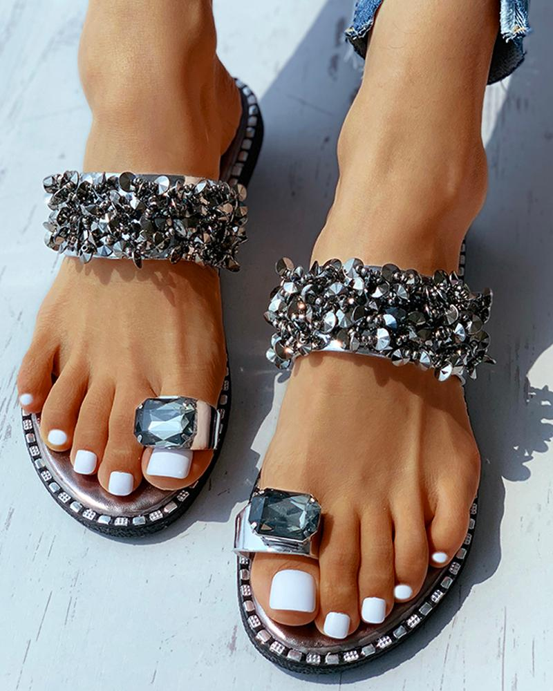 Studded Toe Ring Flat Sandals фото