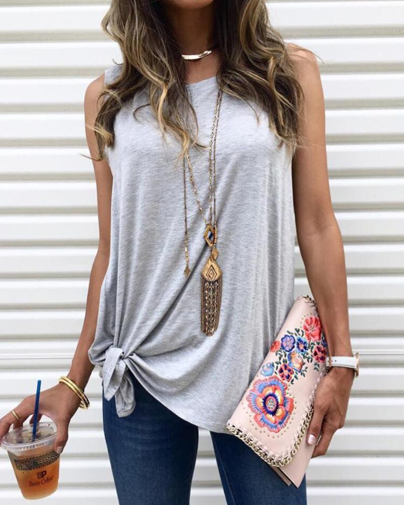 Solid Sleeveless Round Neck T-shirt фото