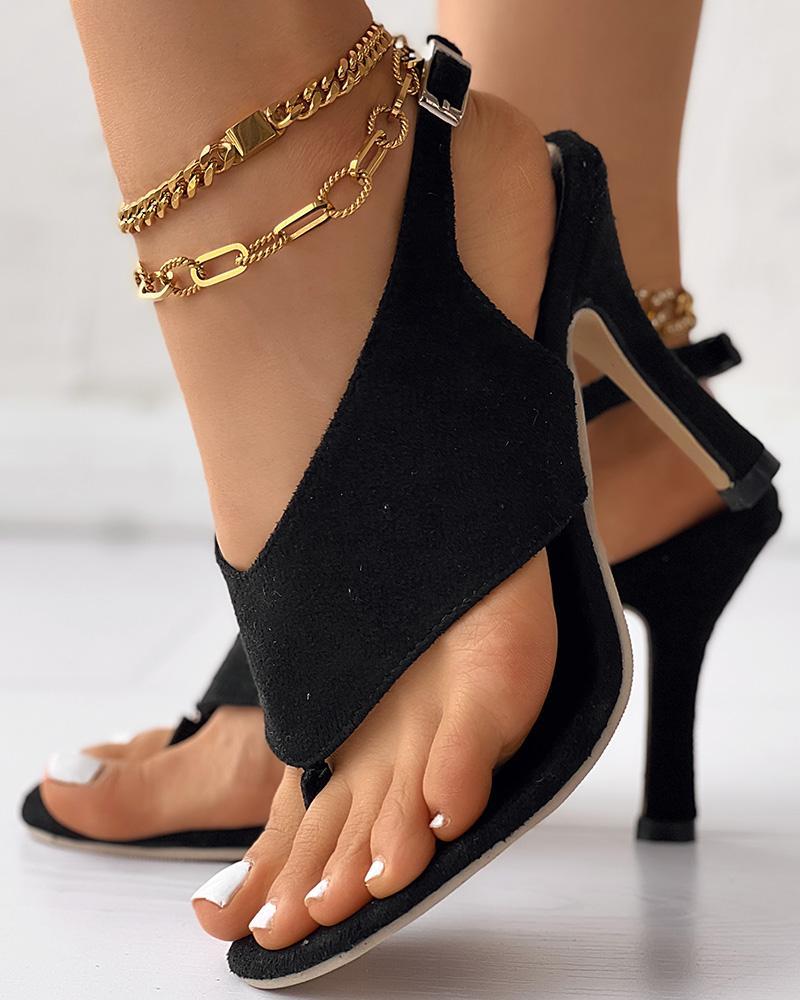 ivrose / Toe Post Slingback Thin Heeled Sandals