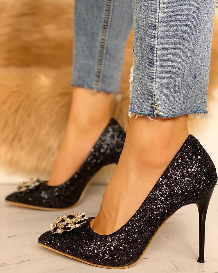 joyshoetique / Gem-Studded Pointed Toe Sequin Stiletto Heels