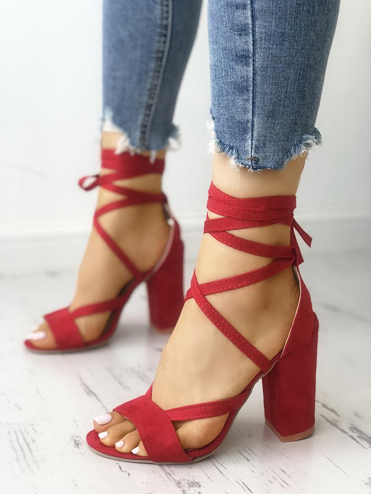Solid Strappy Chunky Heeled Sandals