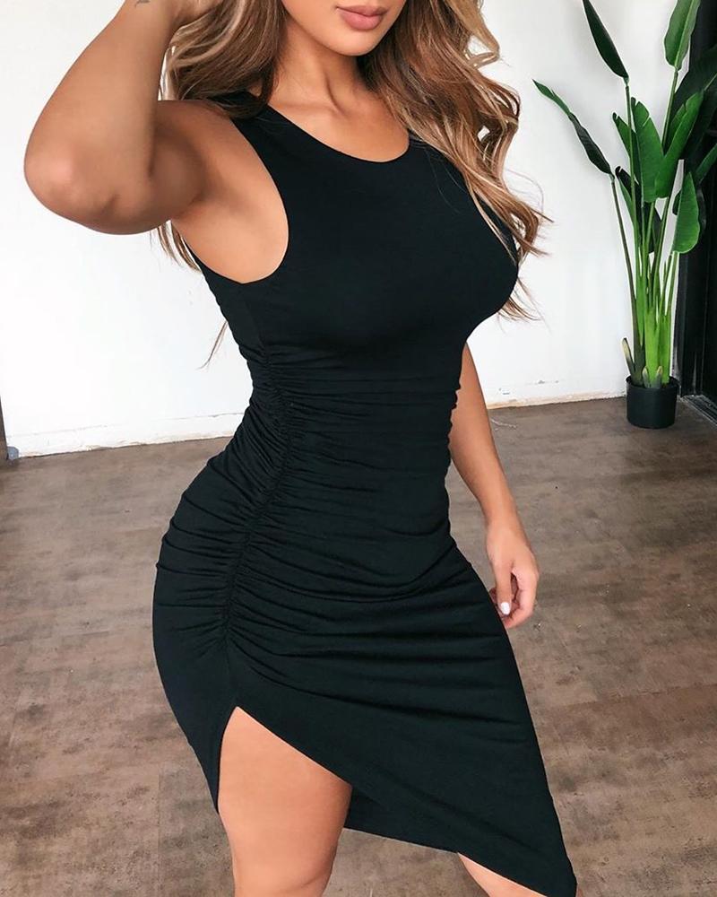boutiquefeel / Em torno do pescoço Ruched vestido Bodycon irregular