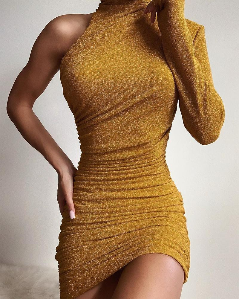 One Shoulder Bodycon Ruched Dress фото