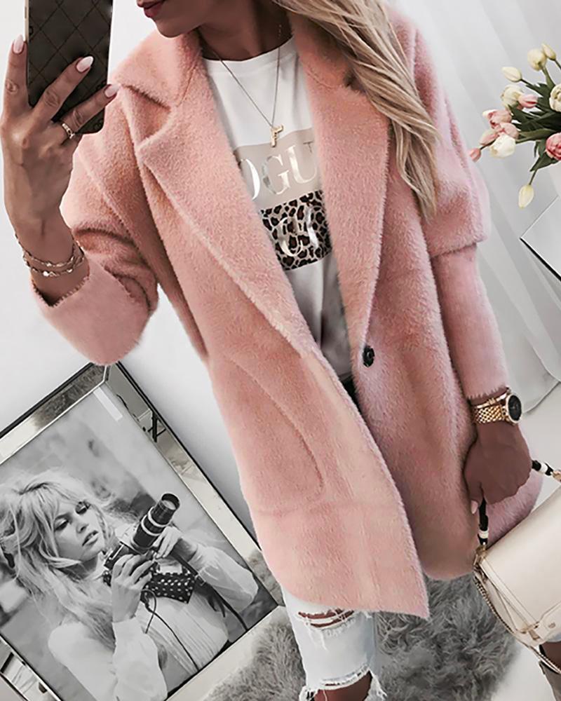 boutiquefeel / Abrigo de bolsillo de manga larga con un solo botón