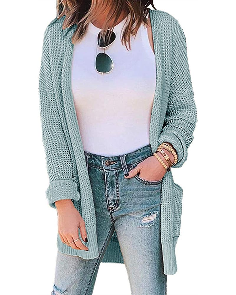 Casual Solid Waffle Check Cardigan фото