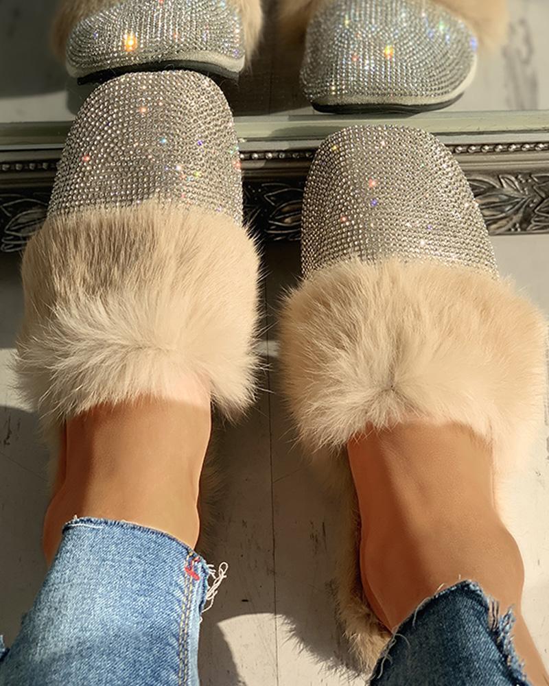 ivrose / Fluffy Glitter Sequins Flat Shoes