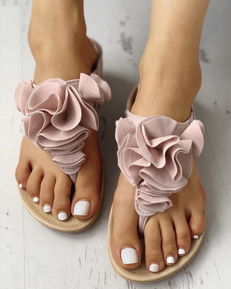 Ruched Flower Embellished Toe Post Flat Sandals фото