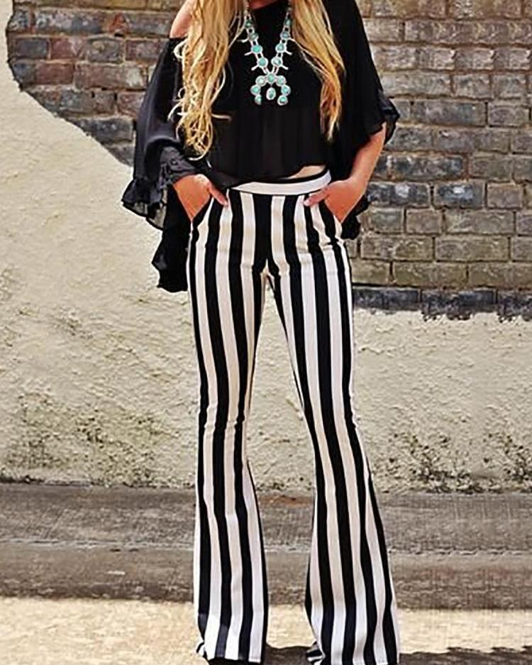 chicme / Vertical Striped Casual Bell-Bottom Pants