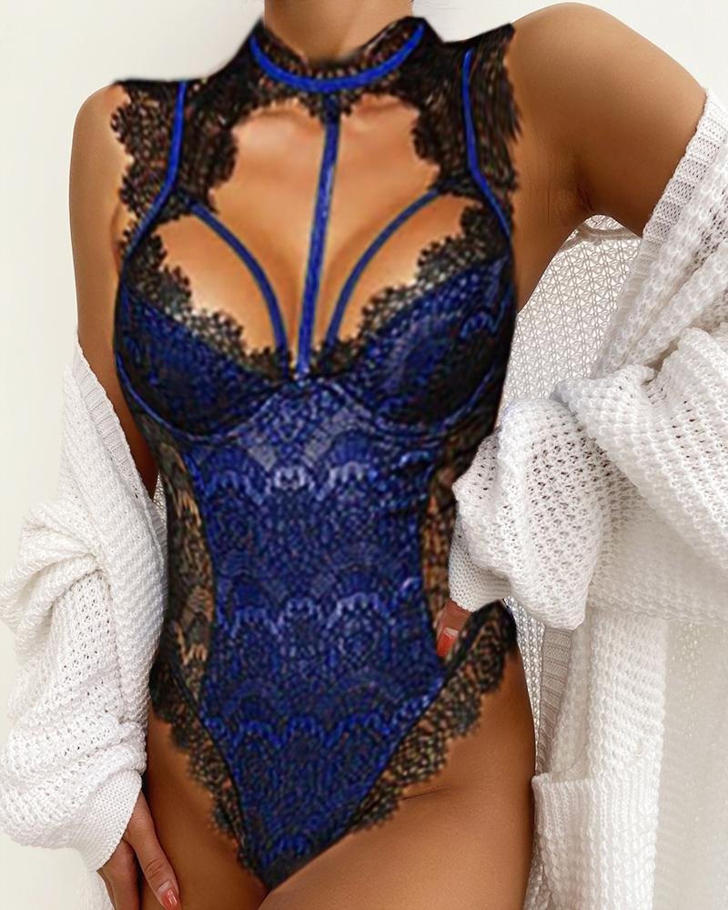 Alluring Lace Mesh Padded Lingerie Bodysuit, Dark blue
