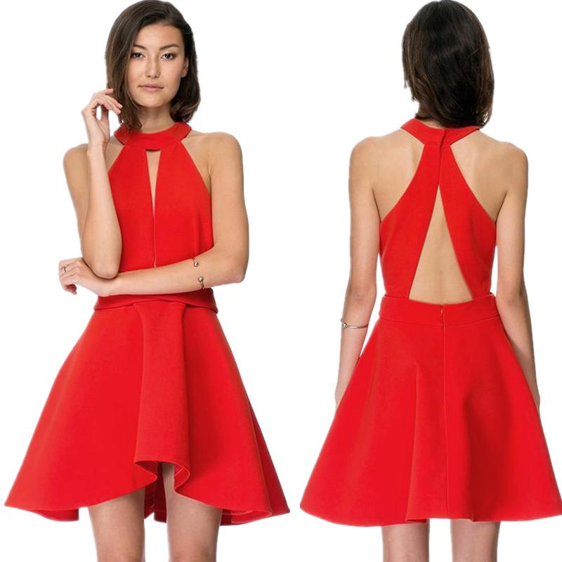 Fashion Sexy Off Shoulder Halter Mini Dress Sleeveless Backless A-Line Dress Skater Dress