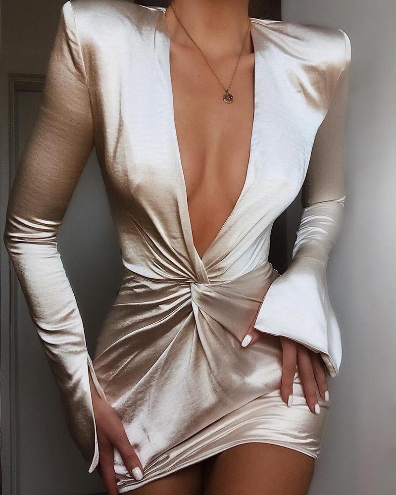 boutiquefeel / Vestido de puño con abertura y diseño torcido