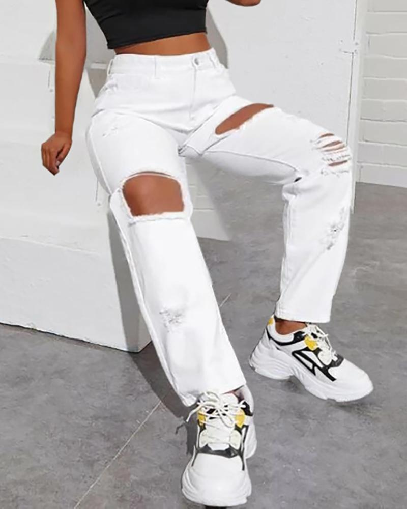 Cutout Ripped Casual Jeans фото