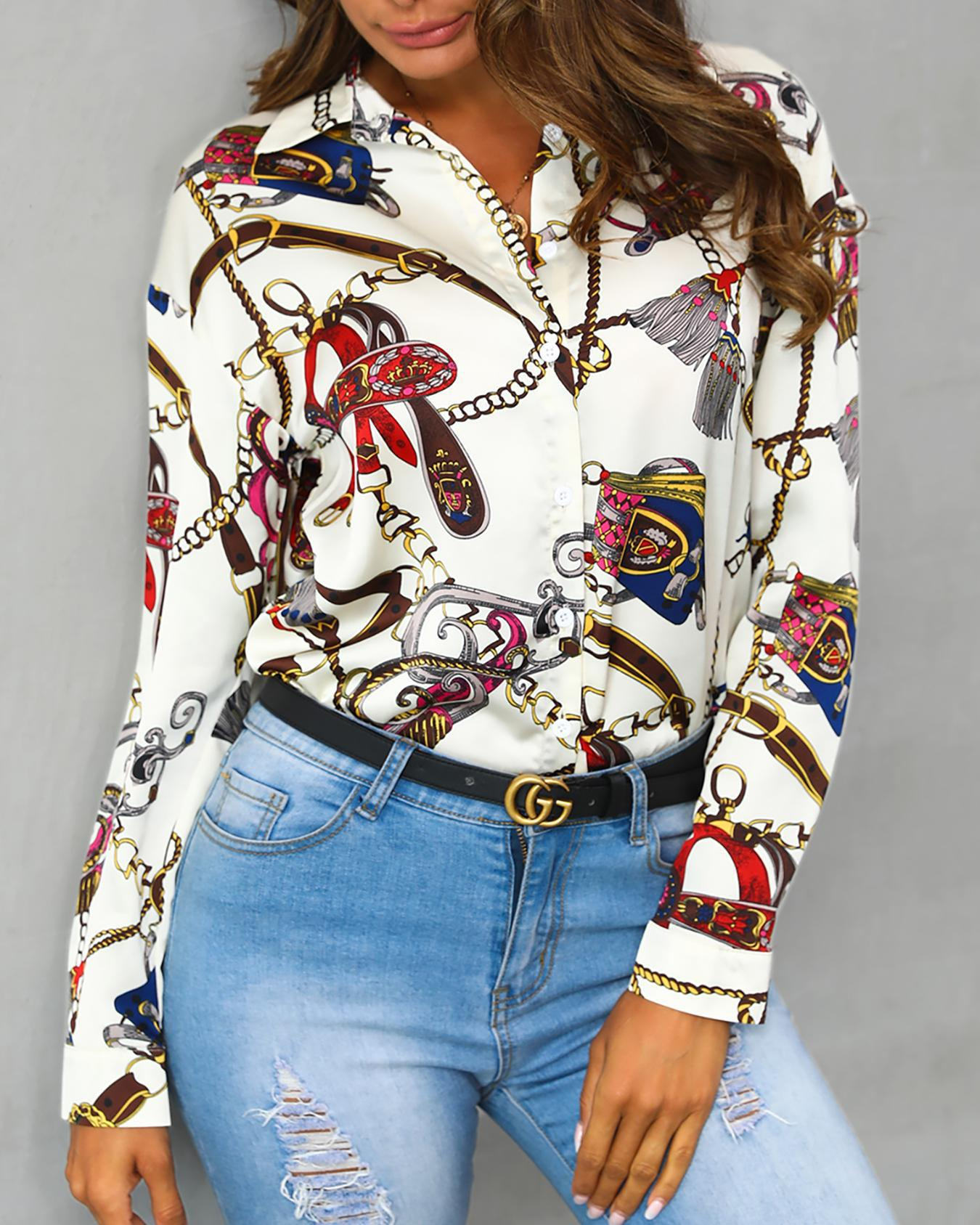 Scarf Print Button Up Casual Shirt, Multicolor