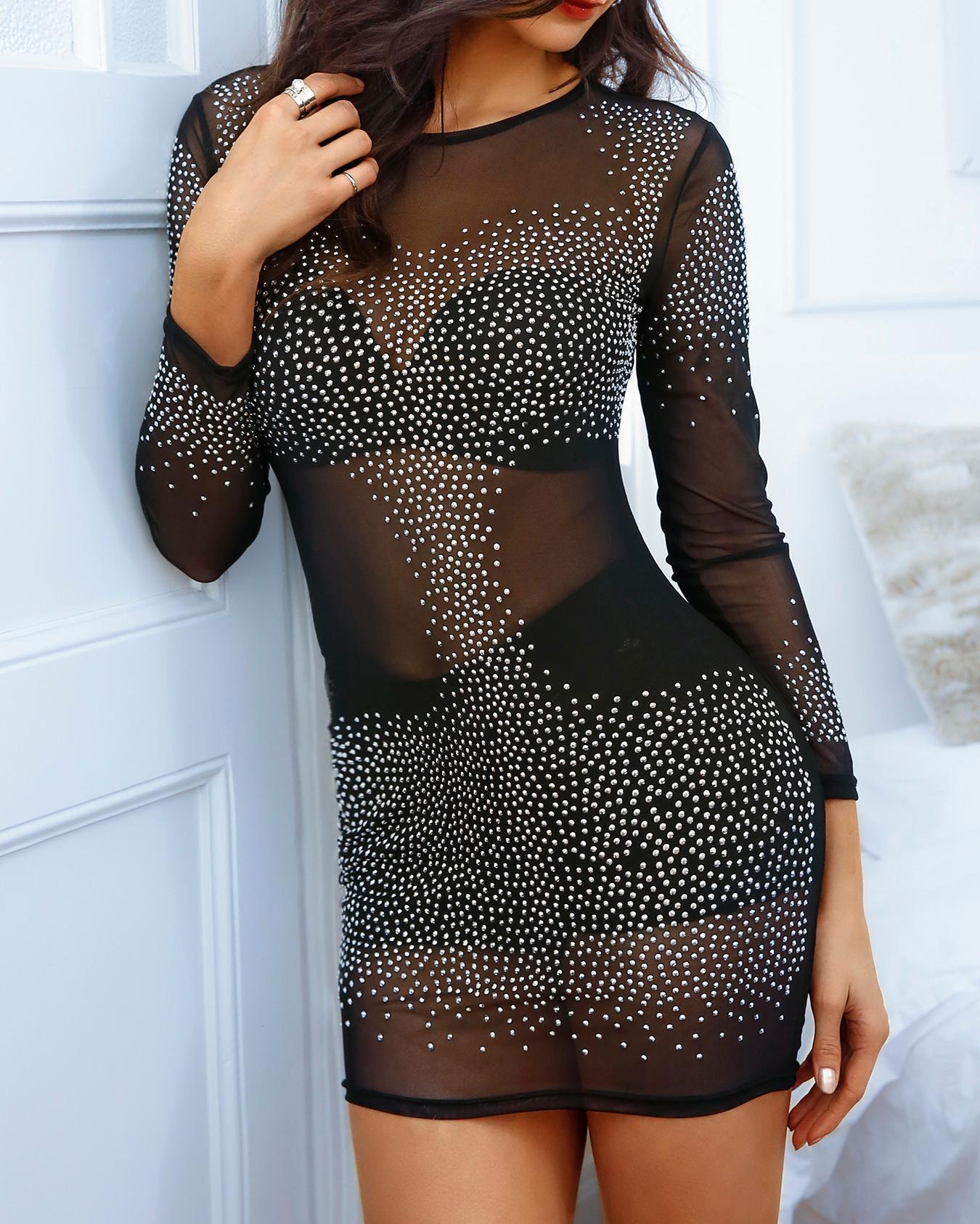ivrose / Mini vestido brillante con lentejuelas y bodycon