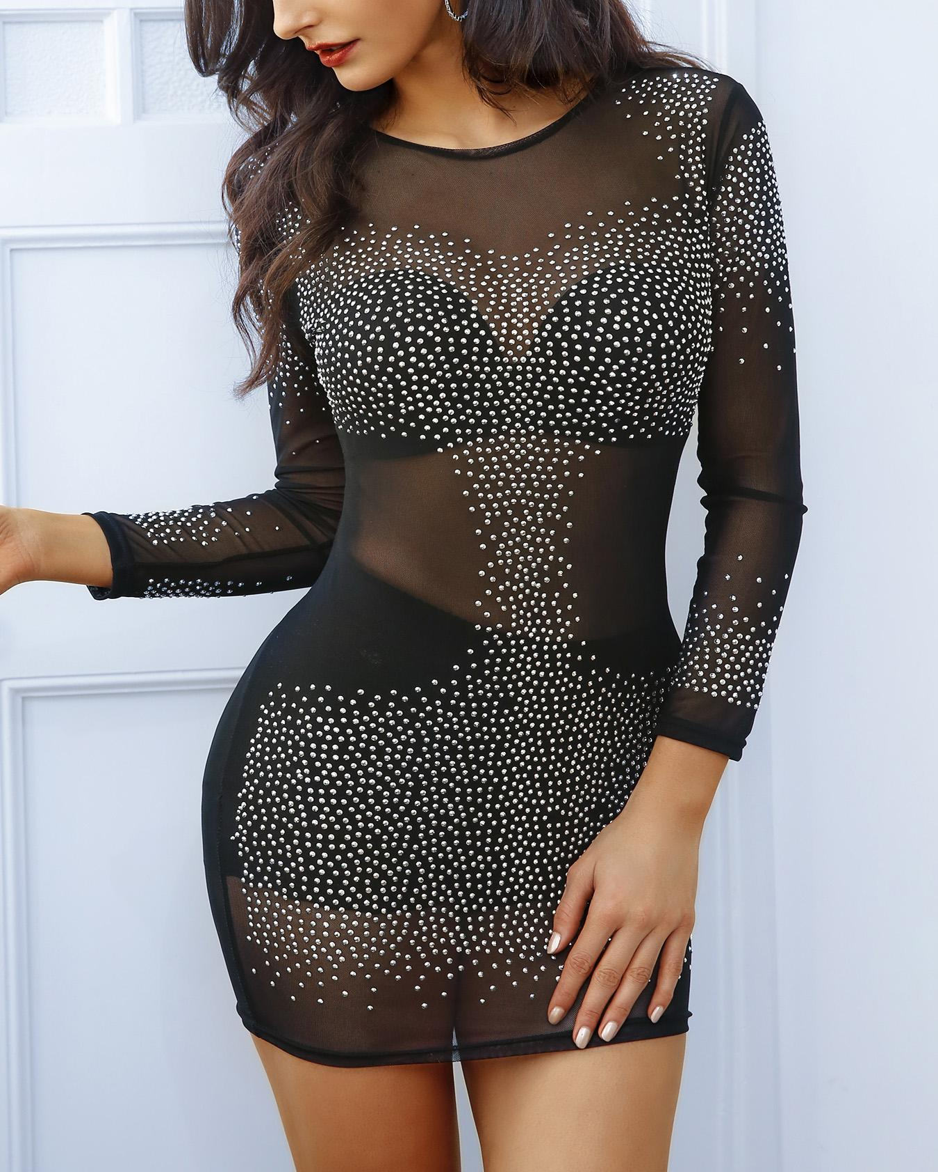 Glittering Sequins Bodycon Mini Dress фото
