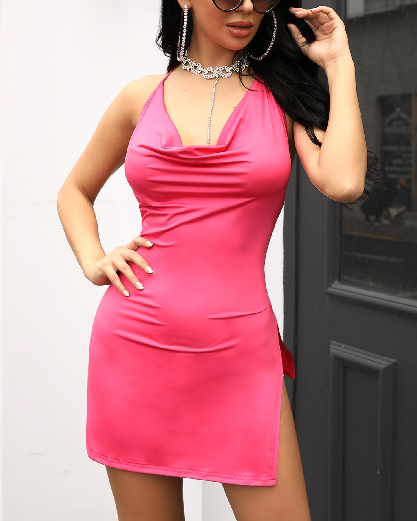 chicme / Drape Neck Open Side Side Slit vestido de festa