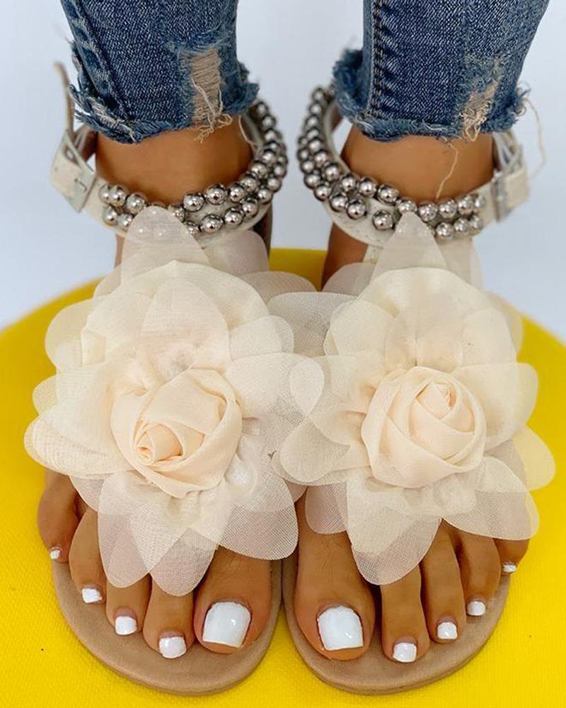 Mesh Floral Embellished Beaded Flat Sandals фото