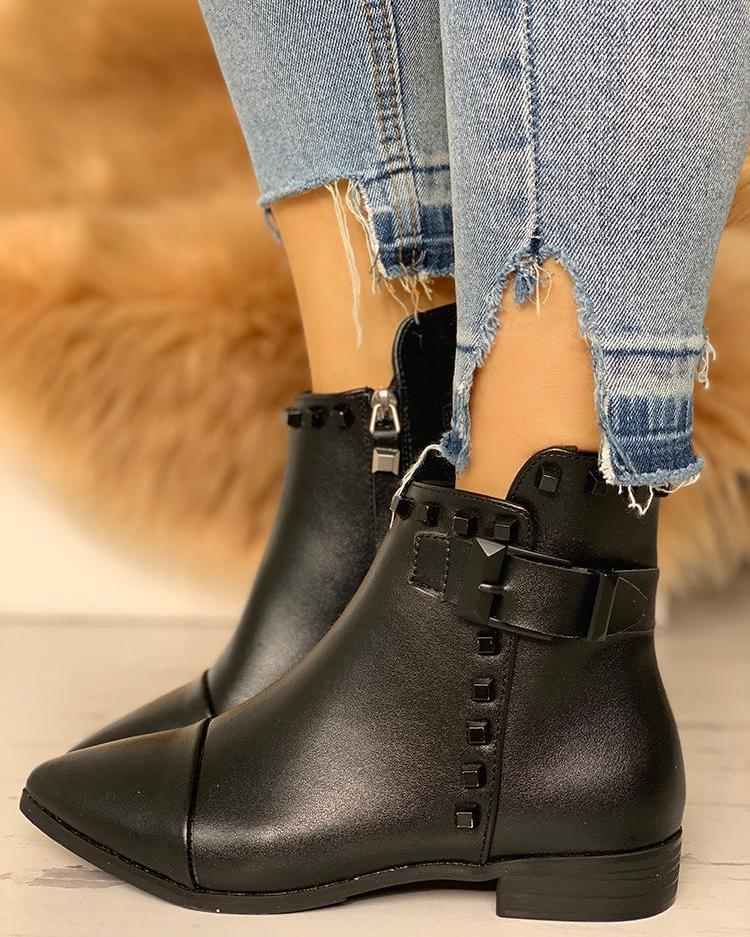 Rivets Embellished Buckle Chunky Boots