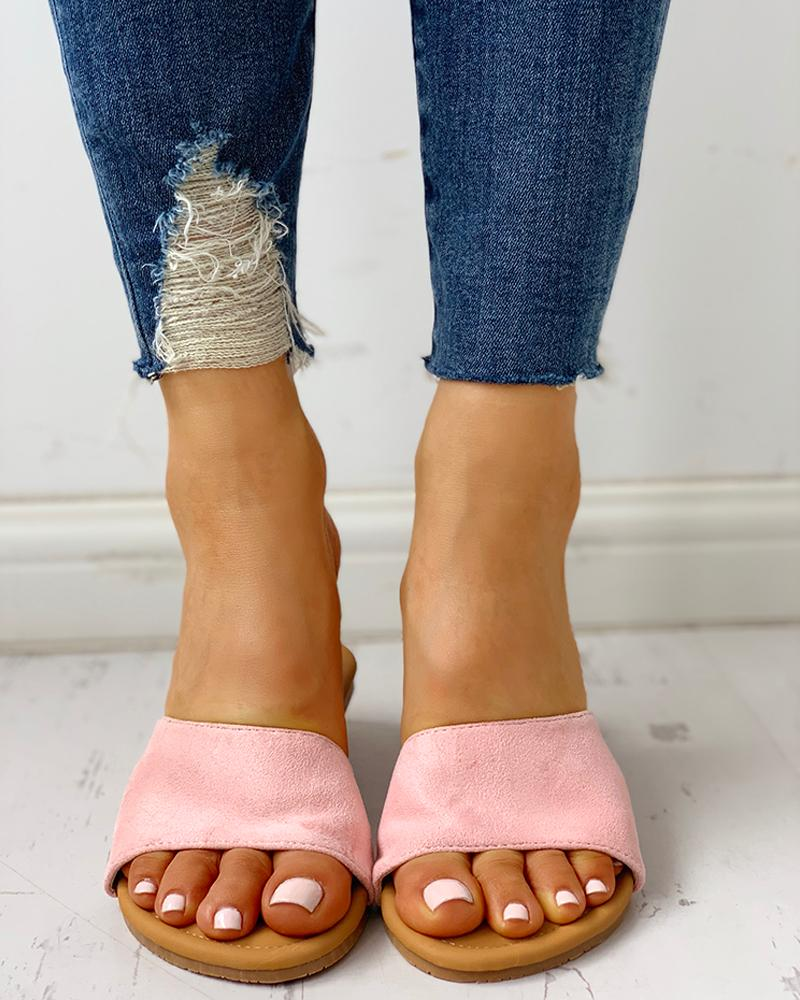Suede Open Toe Flat Sandals