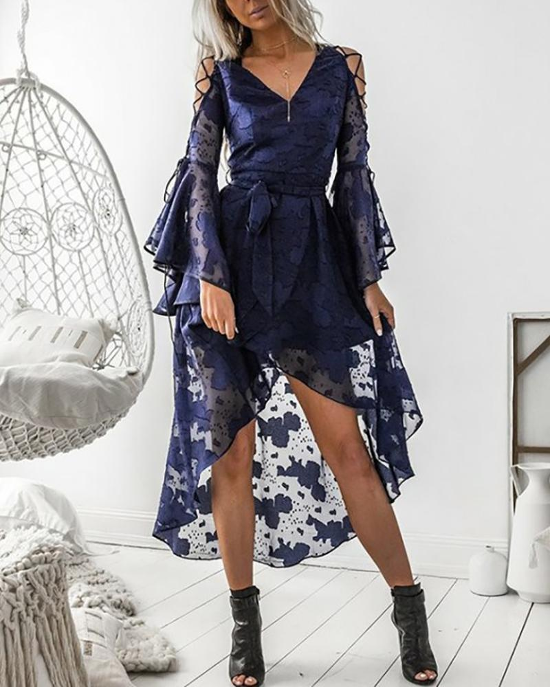 chicme / Lace Up Bell Sleeve High-low Hem Dress