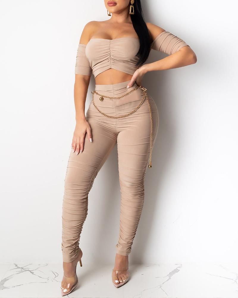 Solid Ruched Tube Crop Top & Pant Sets фото