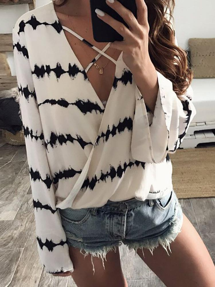 V-Neck Wrap Crisscross Casual Blouse фото