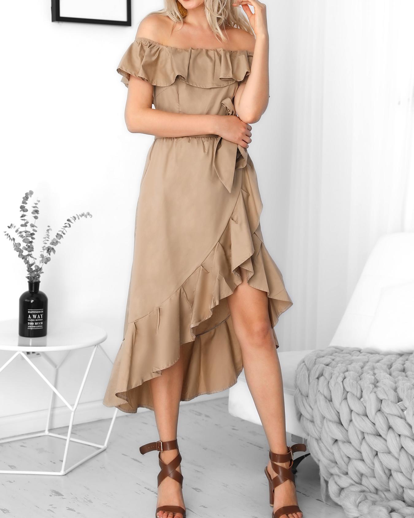 boutiquefeel / Vestido con volantes de Hi-Lo Hem Casaul con hombros descubiertos