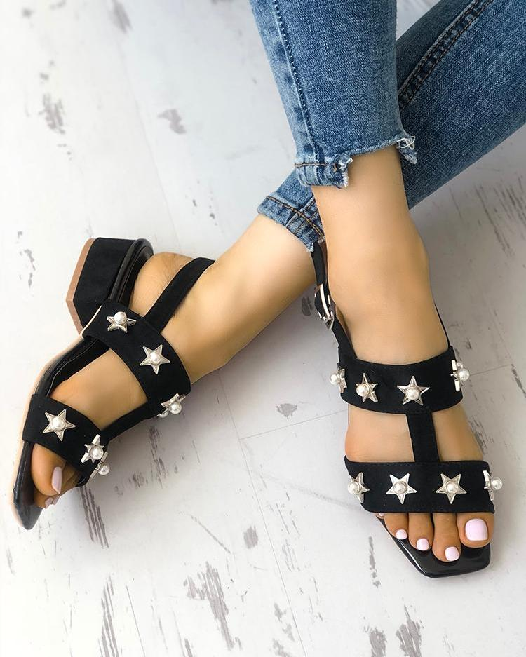 Stars Embellished Square Toe Buckled Sandals