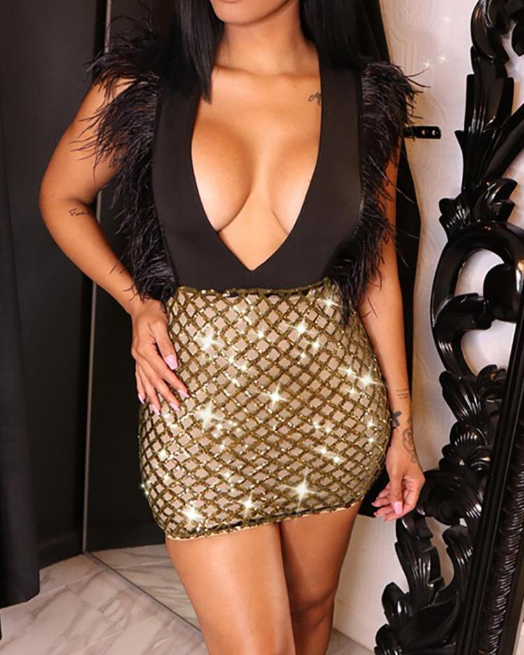 Feather Embellished Glitter Plunge Party Dress фото
