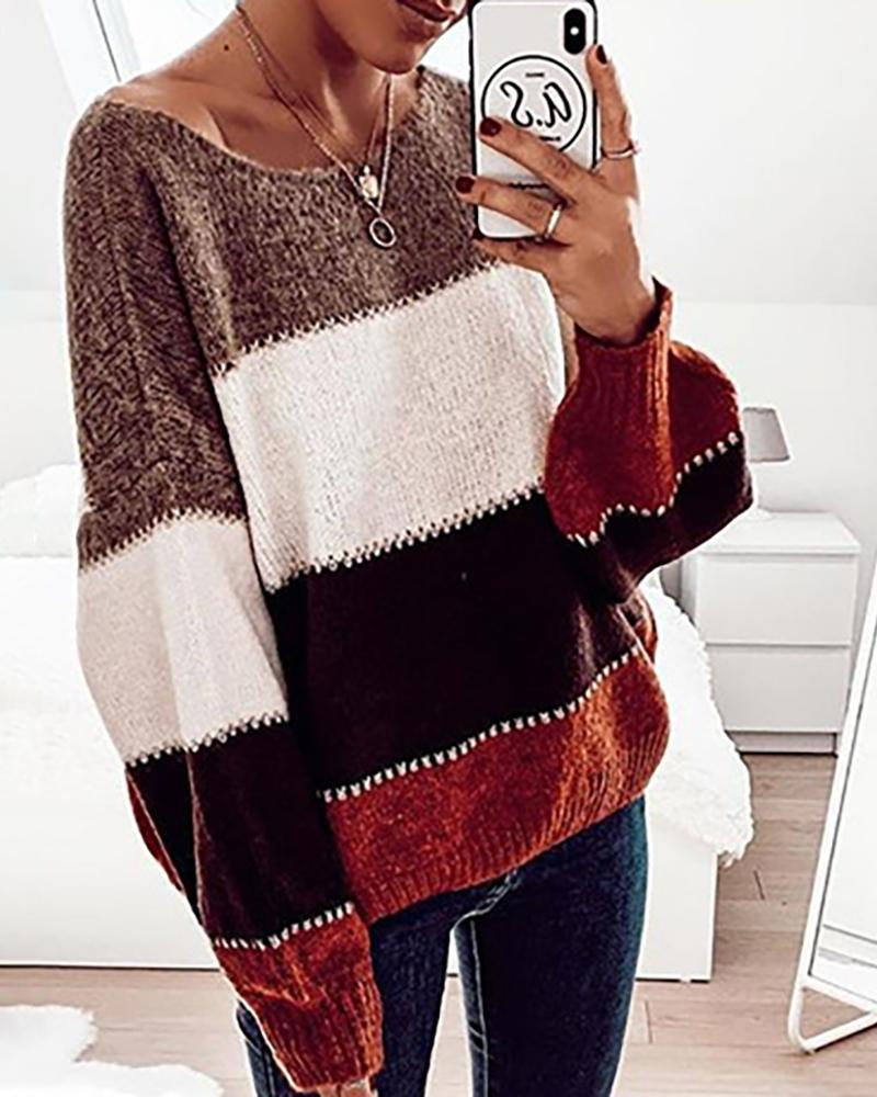 Colorblock Knit Long Sleeve Casual Sweater фото