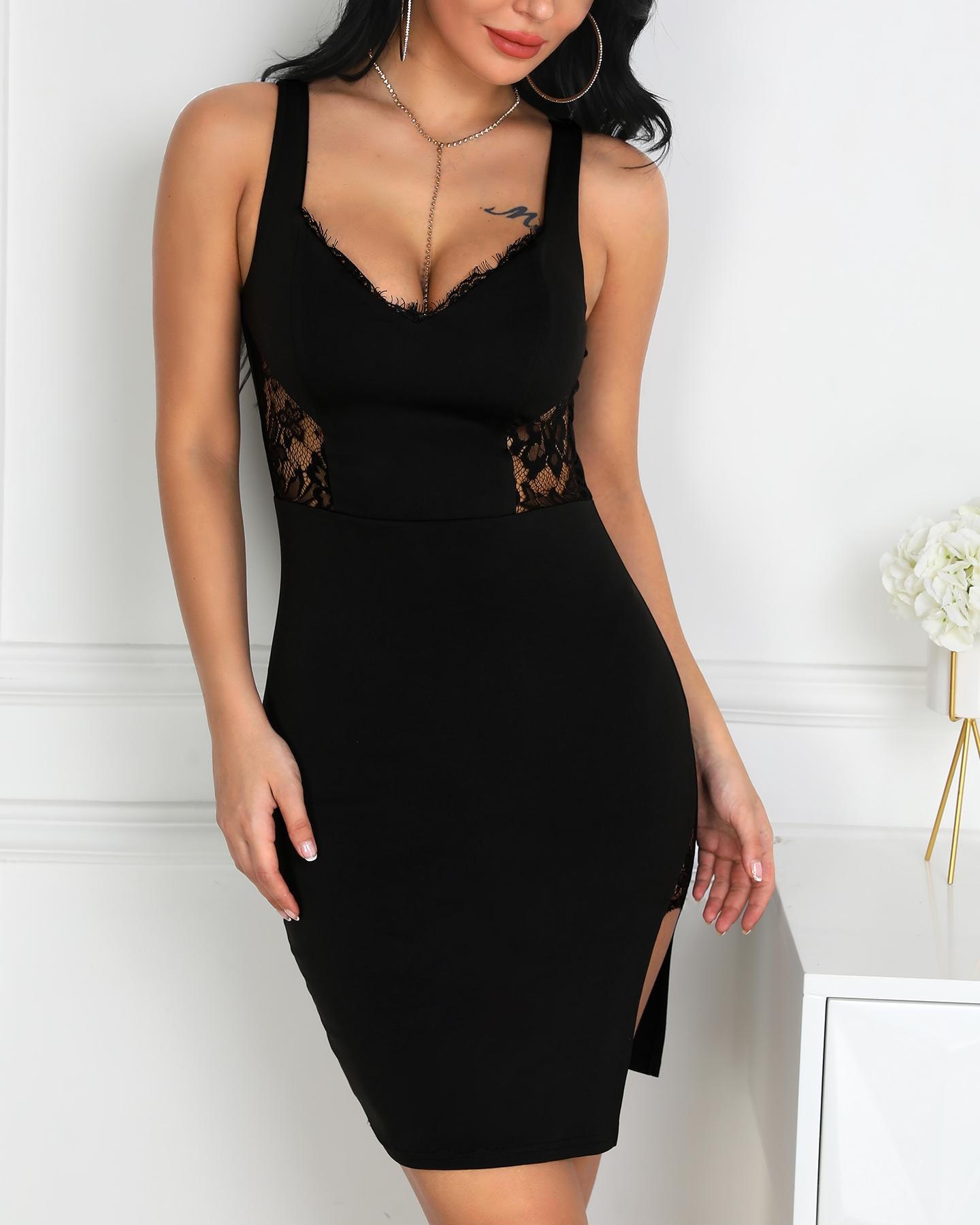 Thin Strap Eyelash Lace Insert Slit Dress фото